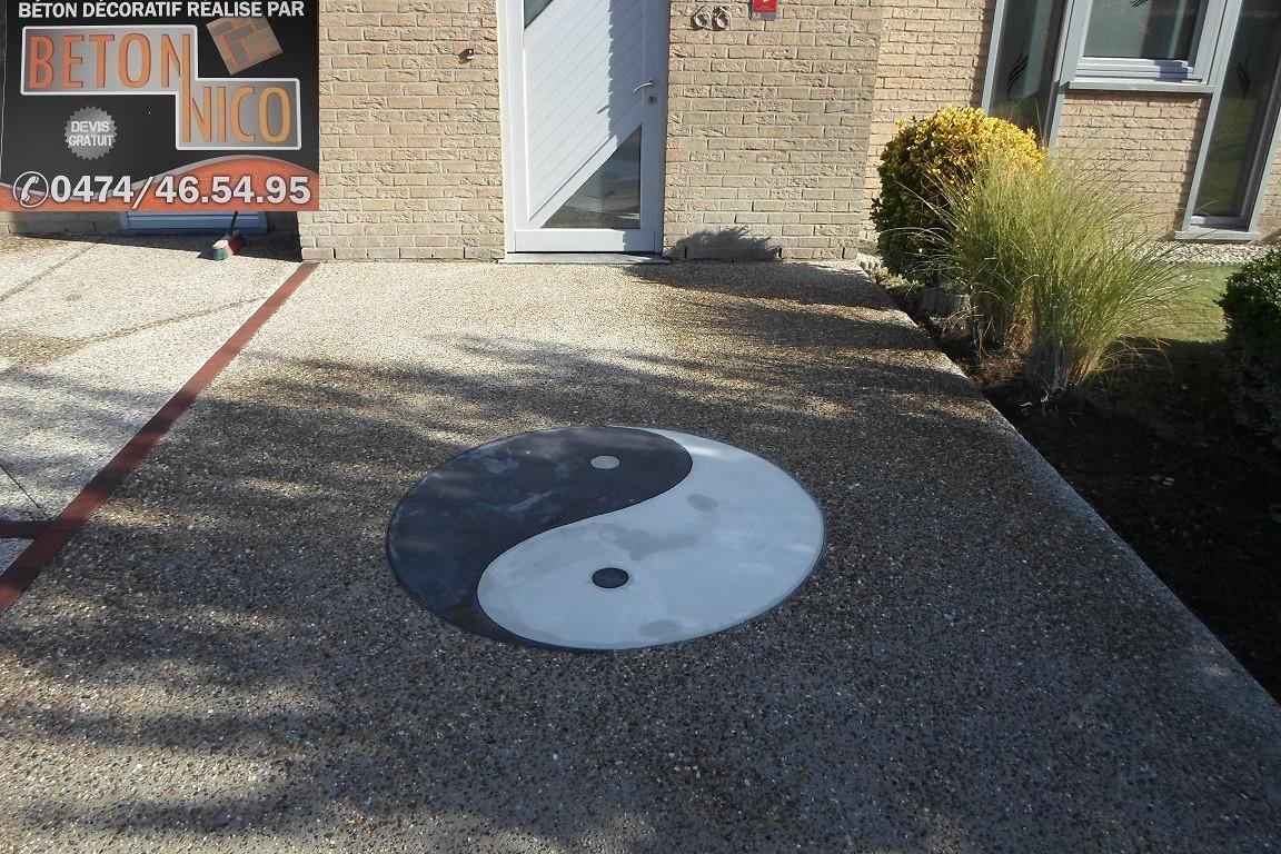 Désactivé avec micro béton yin yang